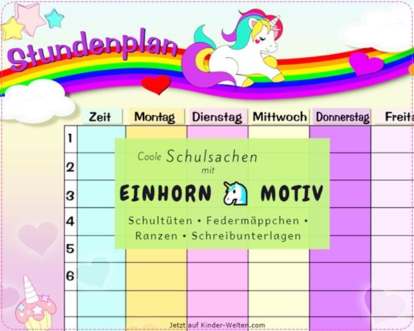 Einhorn-Schulsachen